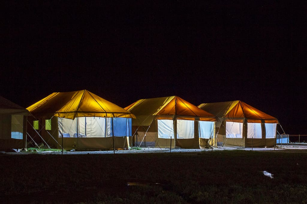 Camps with solar light in the evening.