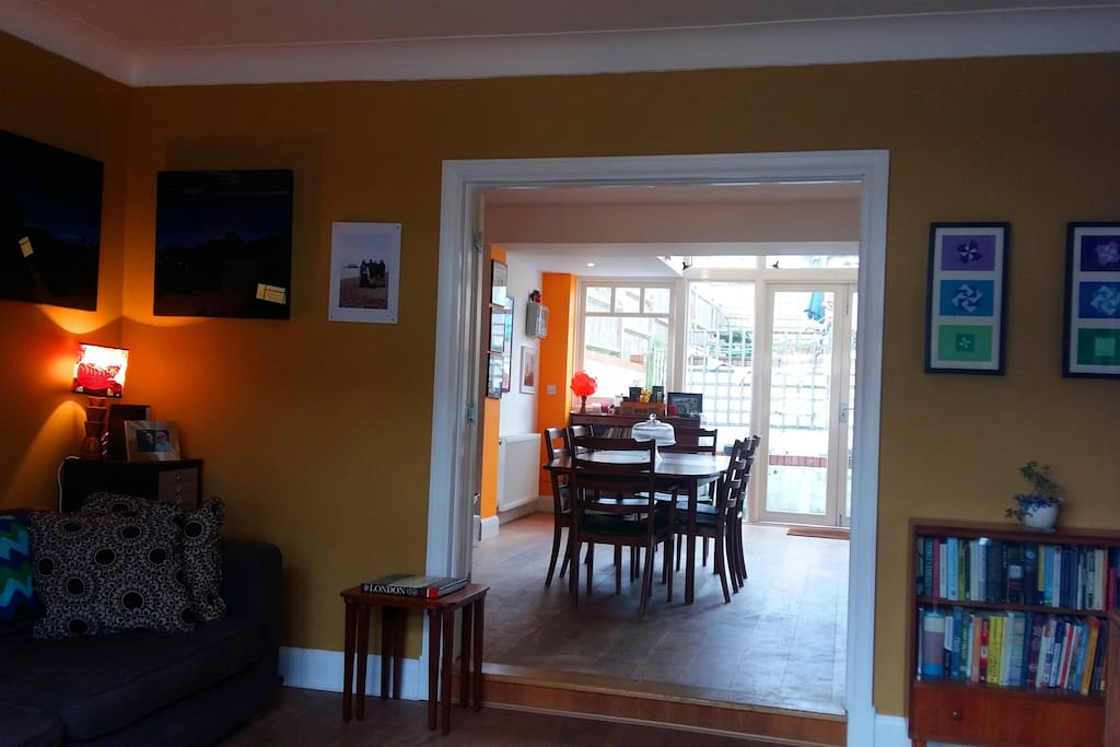 Downstairs with doors open