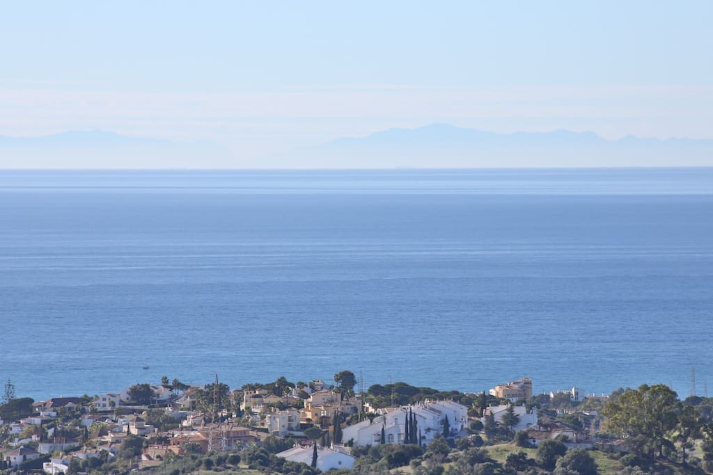 Can see Gibraltar and the mountains in North of Africa at the horizon