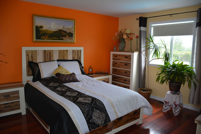 la chambre est bien décorée, lumineuse, propre