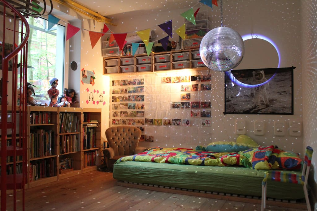 downstairs - moon disco playroom with an outstanding children's library