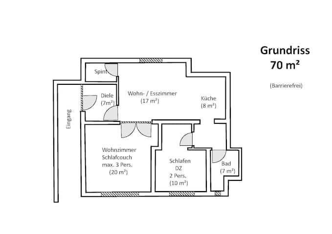 Grundriss 70m², ----Barrierefrei----