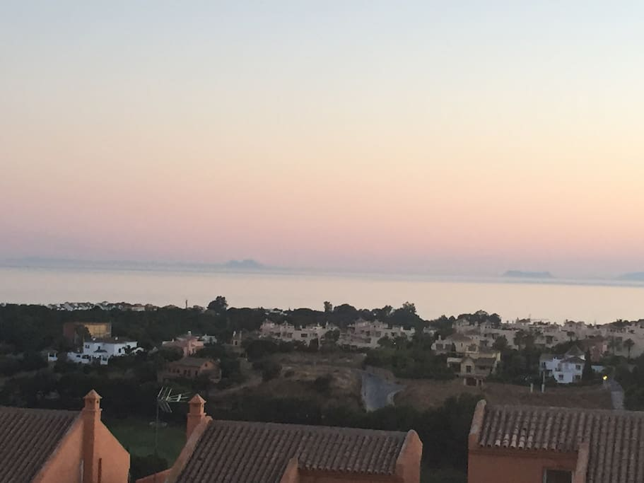 View to Gibraltar (R) and Morocco (L)