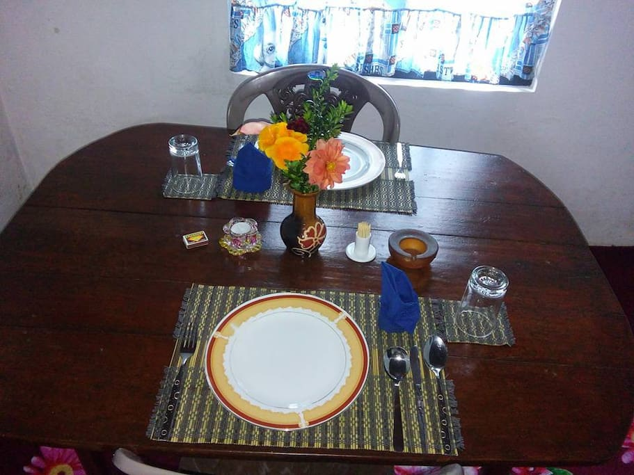 In room Dining Table with All Utencills