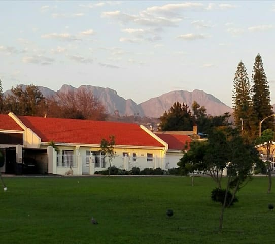 Our home showing the Hottentots Holland Mountains in the distance