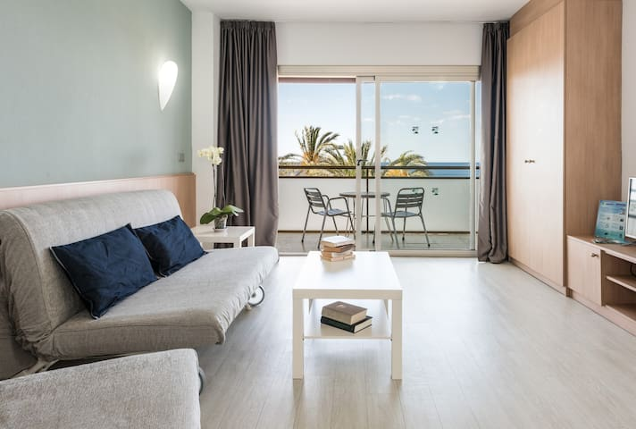 Beach front studio overlooking Poniente Beach