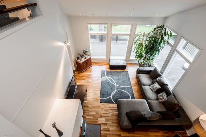 We have a Scandinavian spacious house with beautiful architecture