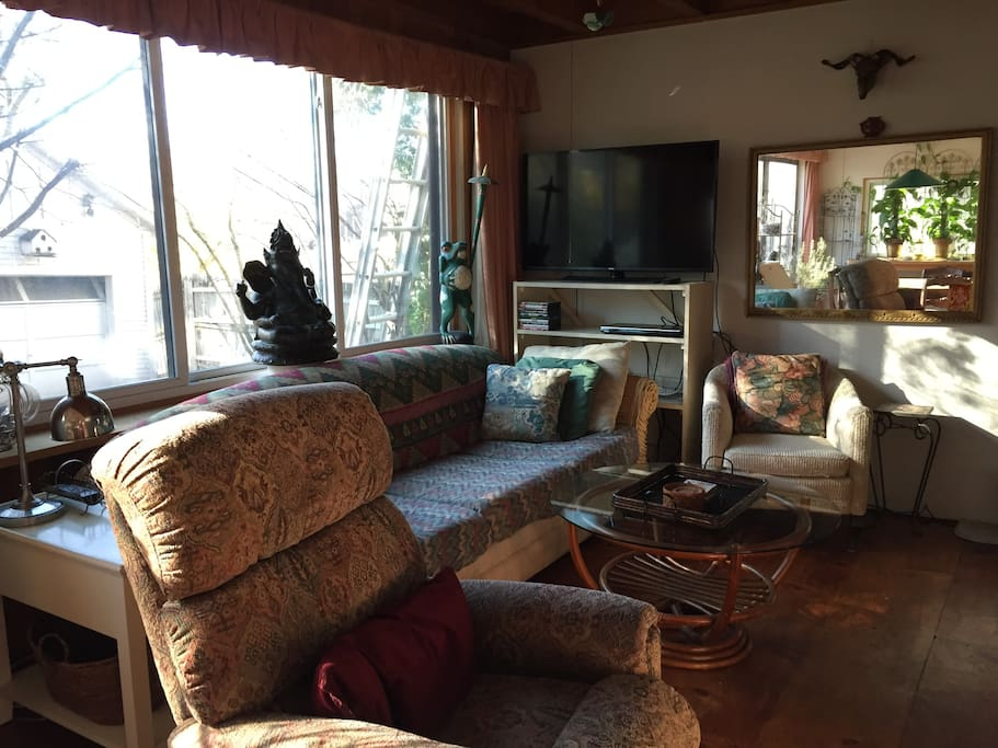 Living room-flat screen, recliner, super comfortable, a lot of natural light and a view of the backyard, private.