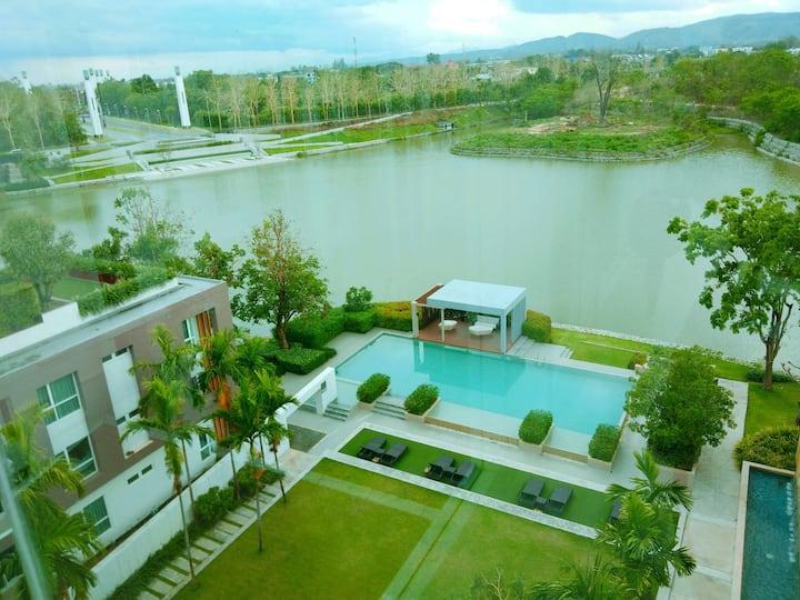 Serene lake with the swiming pool and lake view.