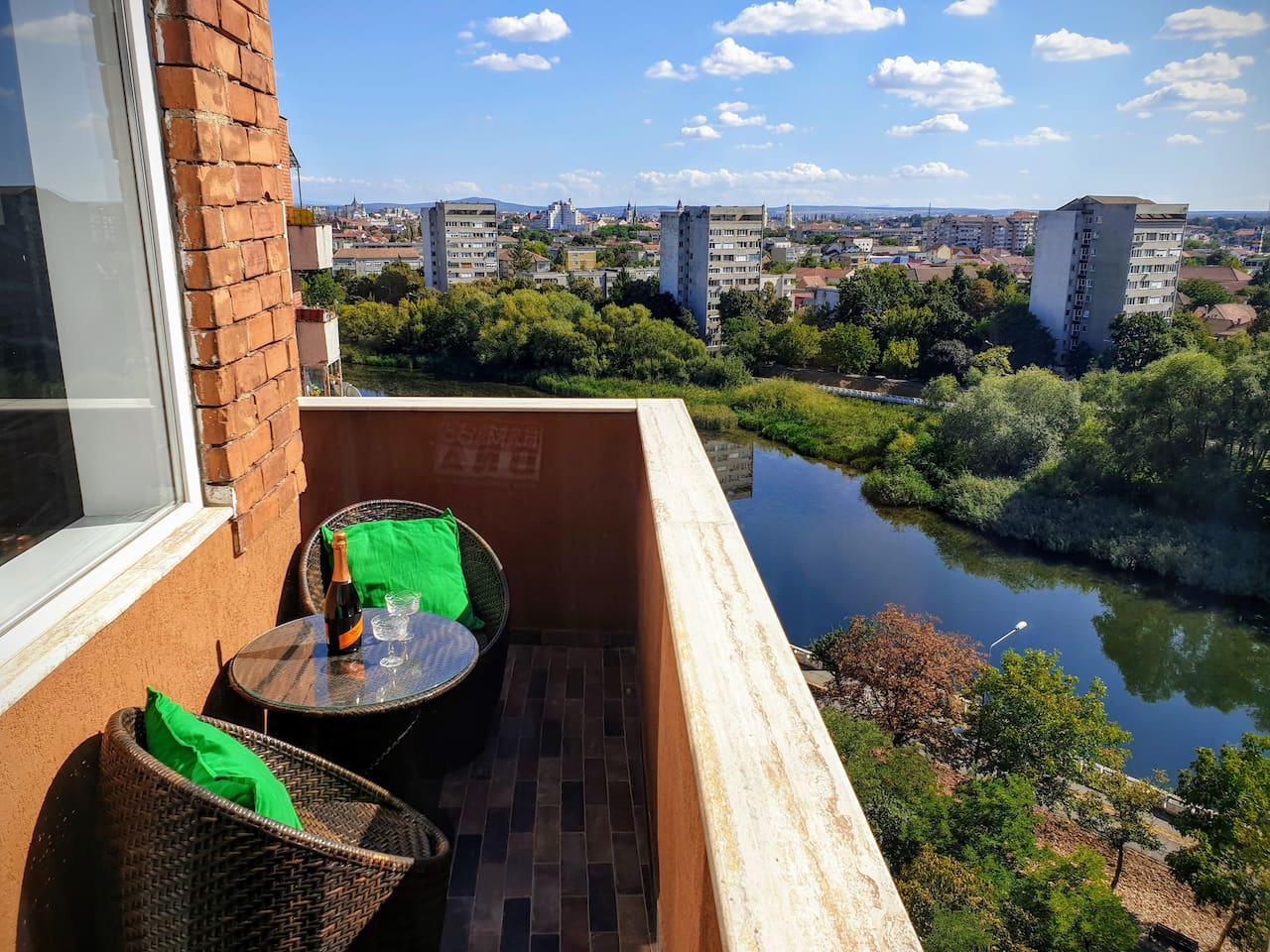The balcony with city/river view. Nice place for relaxing