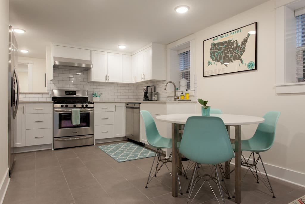 Full kitchen with dining table for 4