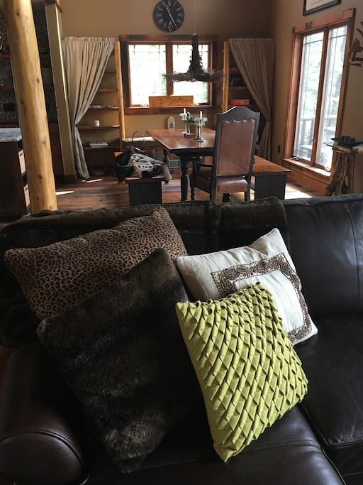 Cozy living room and dining area