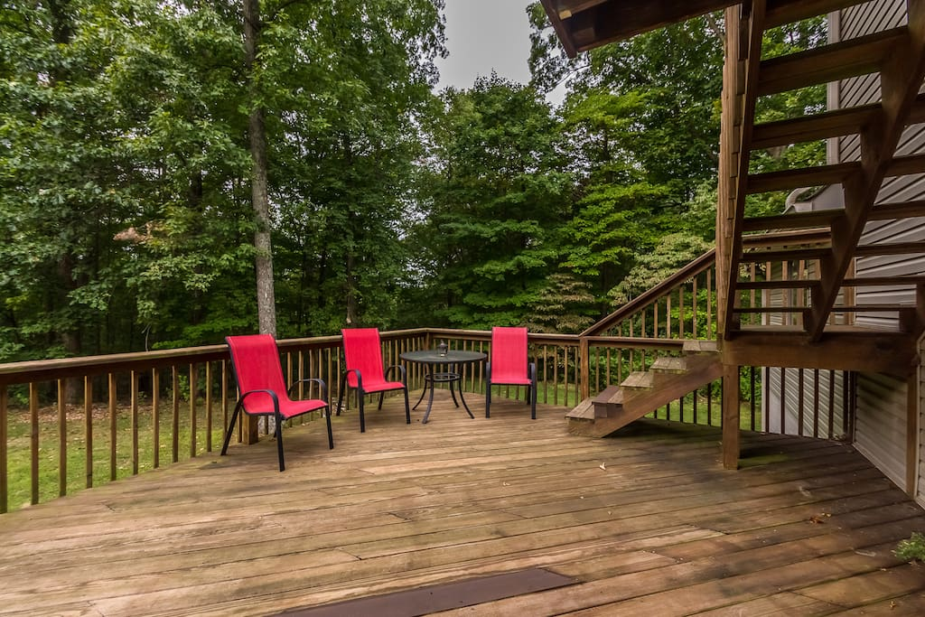 Main back deck, large enough for everyone!  Grill included.
