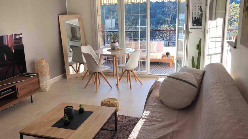 Menton Joli studio 30m2 tout équipé terrasse 12 m2