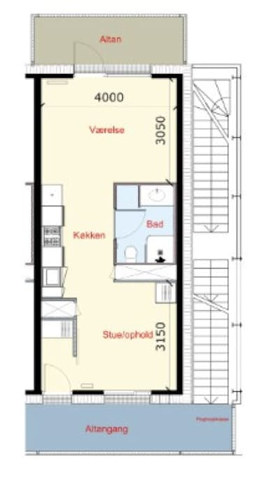 Complete drawing of the apartment. It's 59 m2 with 6 m2 balcony