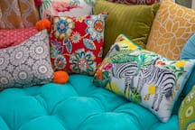 Comfy and cozy cushions and pillows.