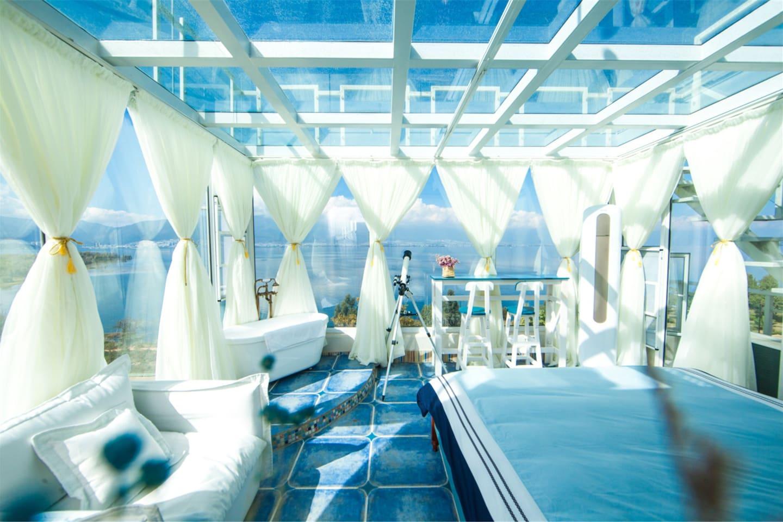 苍山洱海一览无余,玻璃顶星空房,大浴缸。