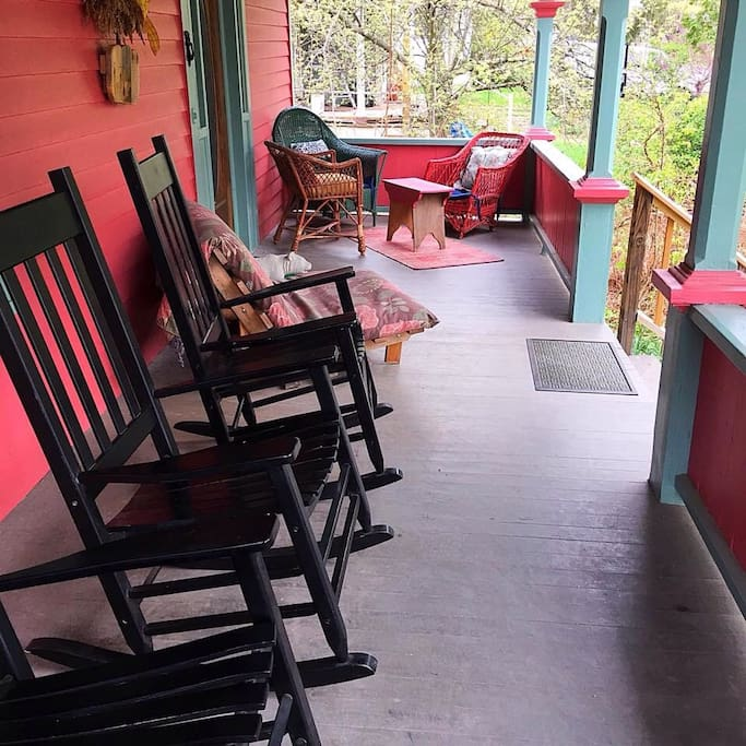 There's plenty of comfortable seating on the front porch for enjoying morning coffee with family and friends or an evening glass of wine.