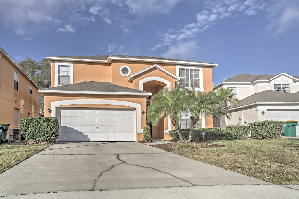 The Disney parks are within a 20-minute drive of this group-friendly home.