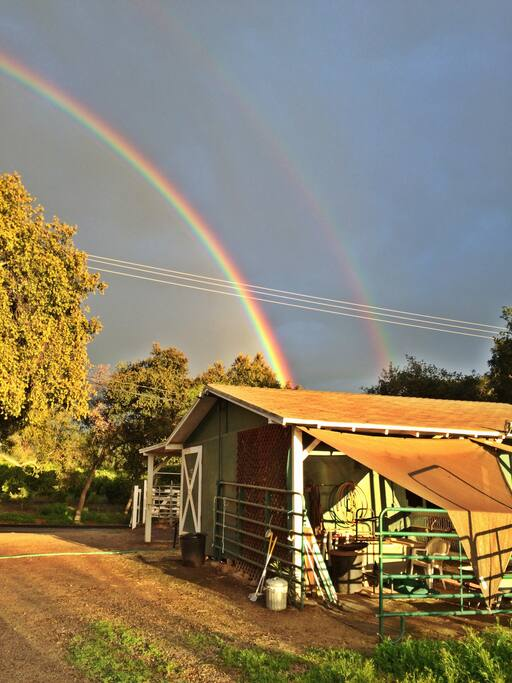 """Double rainbow right through our property; it was magical. The entire area was like in the """"Wizard of Oz""""-the property was engulfed with a beautiful yellow/red haze."""