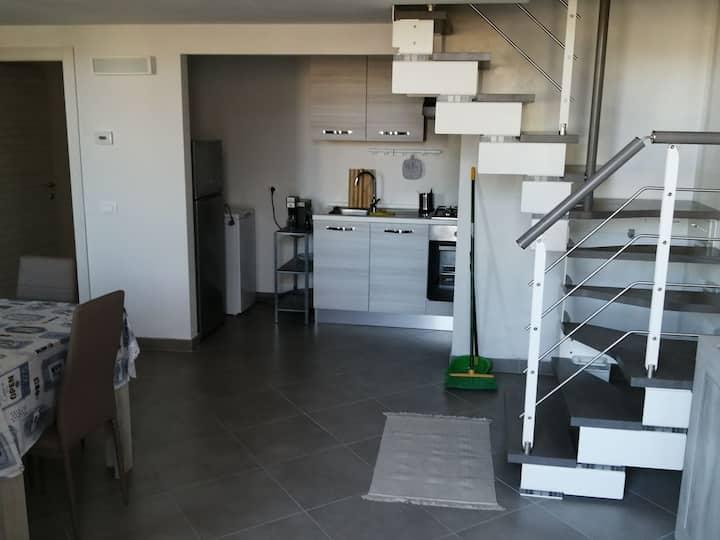 Camera singola in appartamento con terrazzo