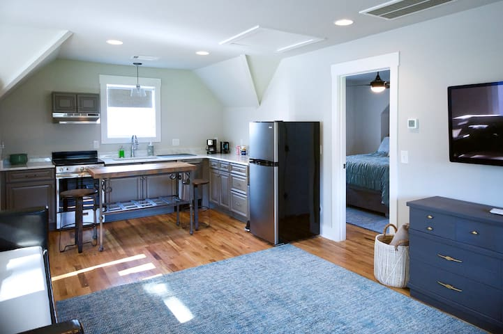 Enjoy our fully stocked kitchen -- includes microwave, dishwasher, refrigerator, drip coffee pot.