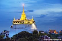 Golden Mountain is well worth a visit for nice view of Bangkok city from the top and 900 meters from our house.
