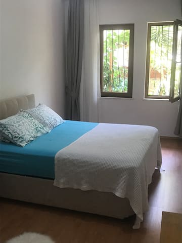 Double bed room with beautiful grape tree view