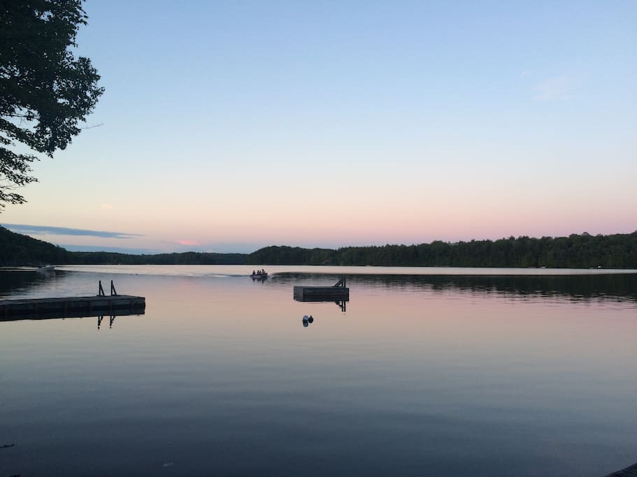 Evening view from the dock overlooking Blackstone Lake