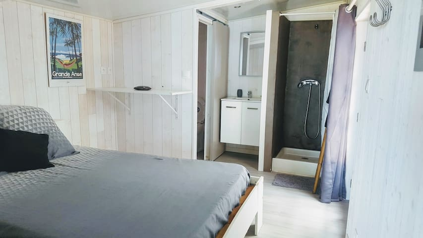 Vue de la chambre avec lit, douche, evier et WC