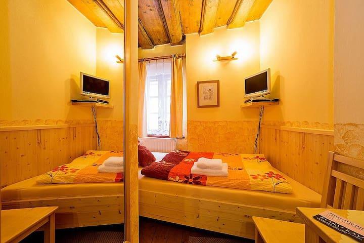 Jednolůžkový pokoj s dřevěným stropem v centru