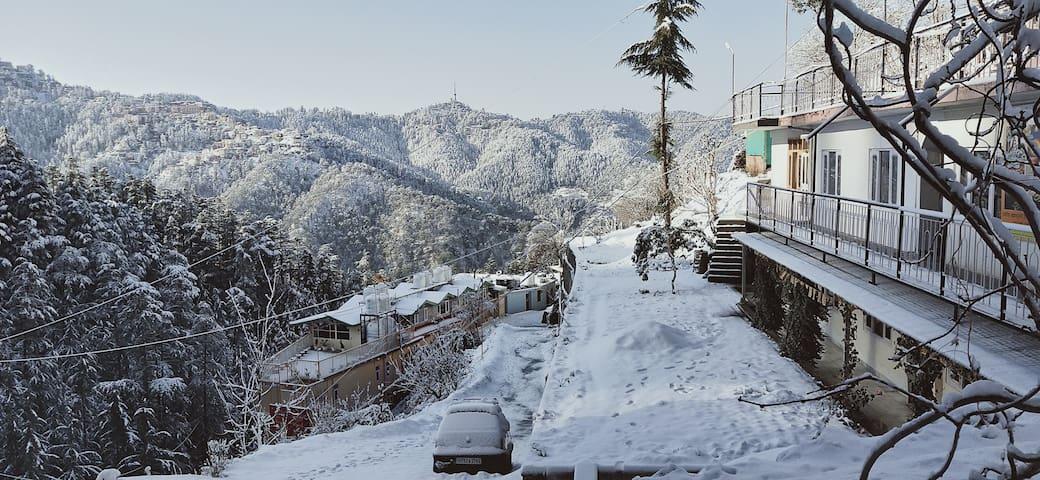 Mountain view, city view, winter,