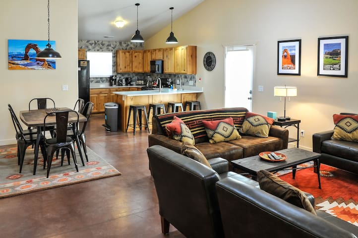 Our home has an open floor plan with dining for six, and four more in the breakfast nook.