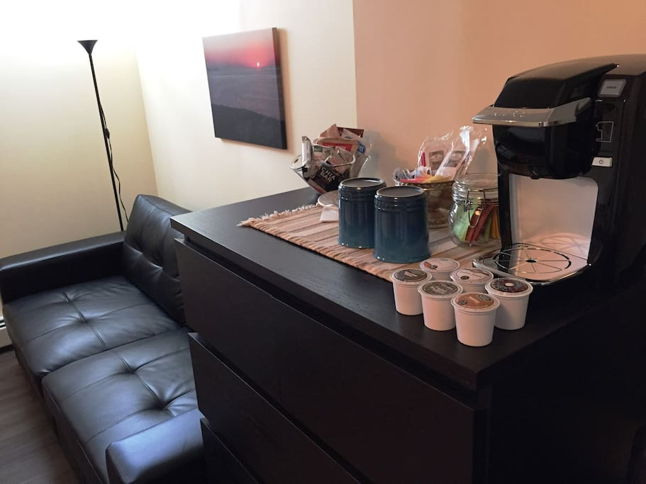 Complimentary coffee and snacks, refrigerator and Keurig in room too