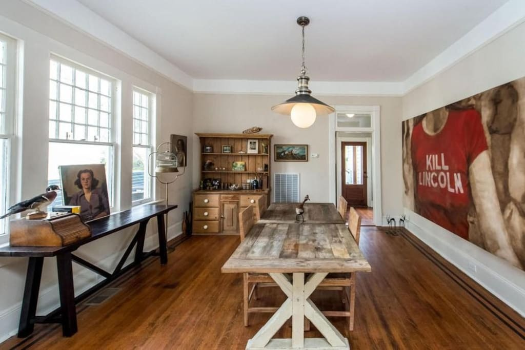 The dining room is located right off of the kitchen for easy access.