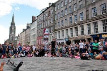 Festival fun on the Royal Mile - a short walk from the flat.