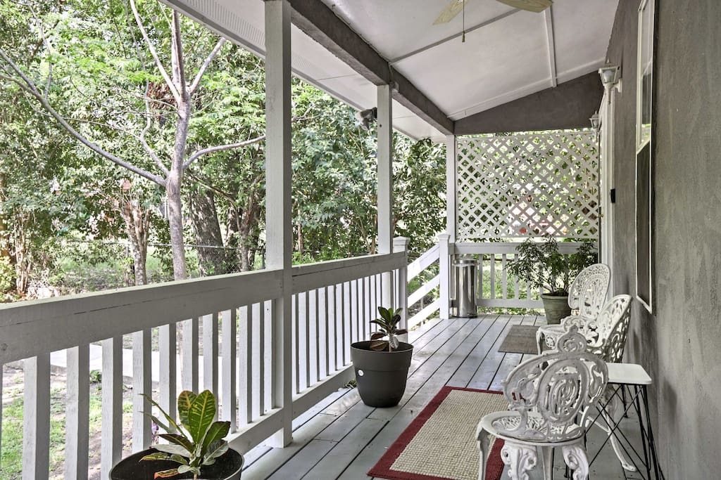 Enjoy your morning coffee on the furnished front porch.