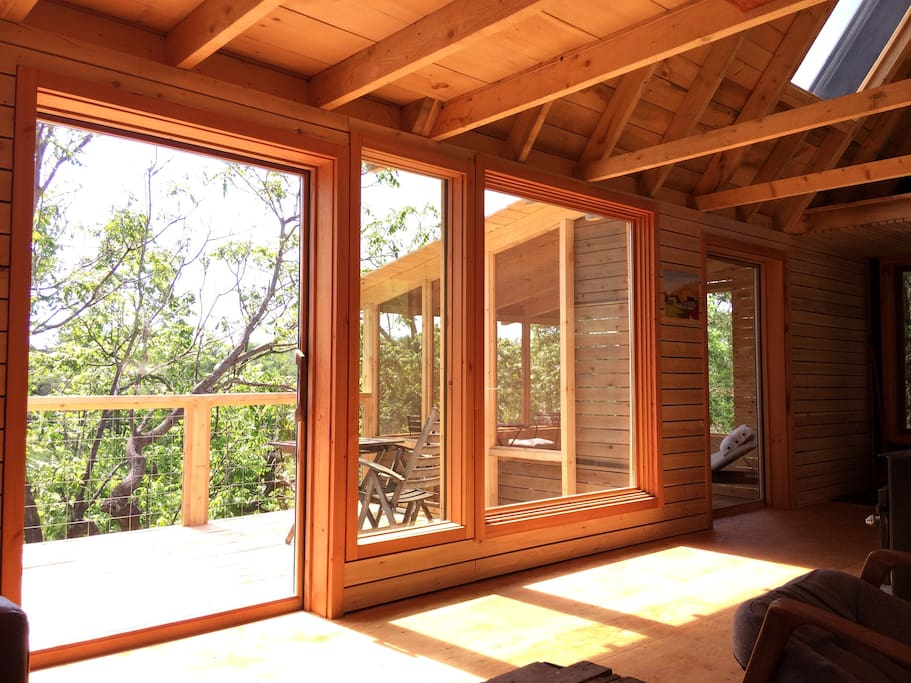The springtime sun reaches into the cabin adding brightness and warmth.