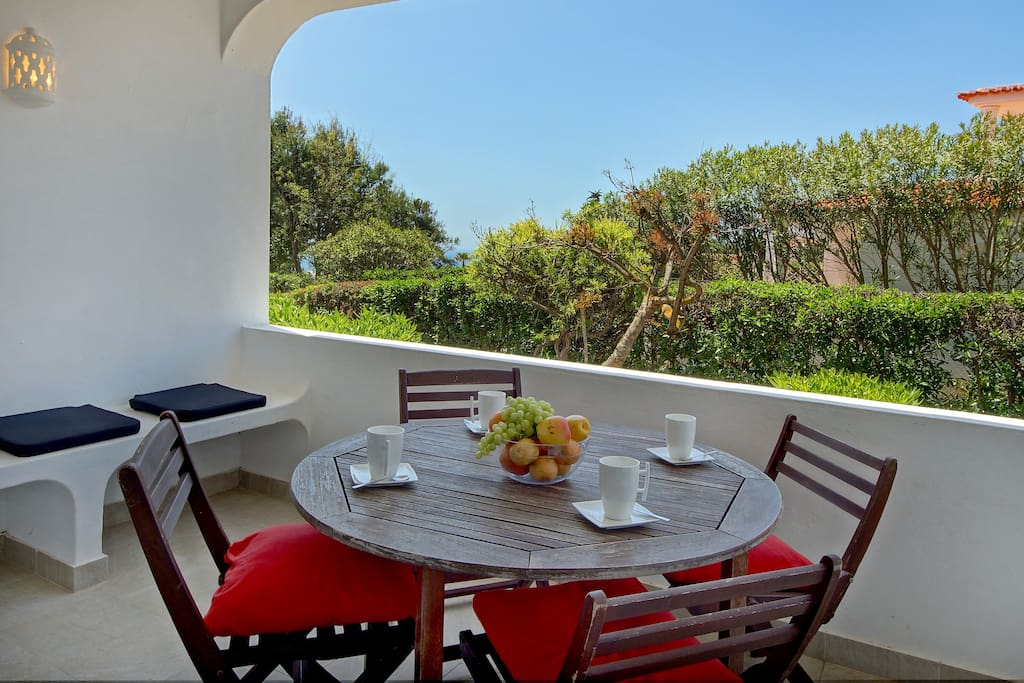 14 sq.m. terrasse with a small view of the ocean.