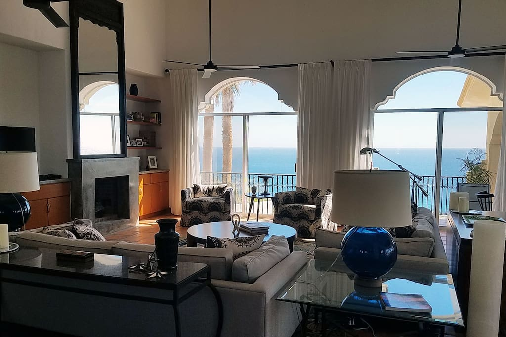 Dramatic Sea of Cortez views and designer furnishings in the living room.