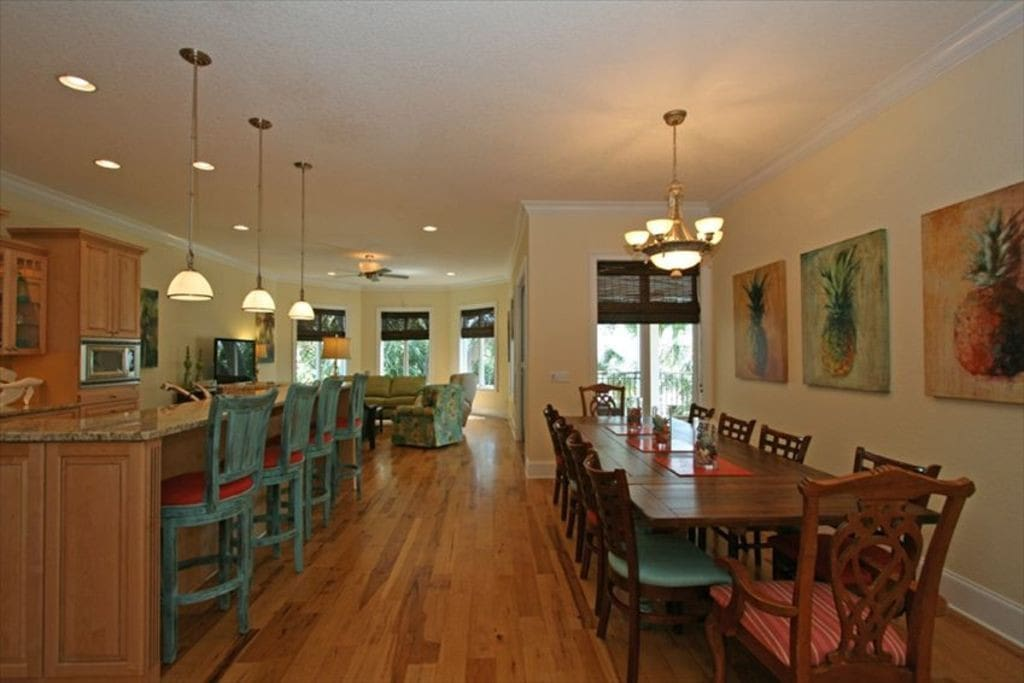 Open Floor Plan with Great Room, Kitchen, Dining Area Views