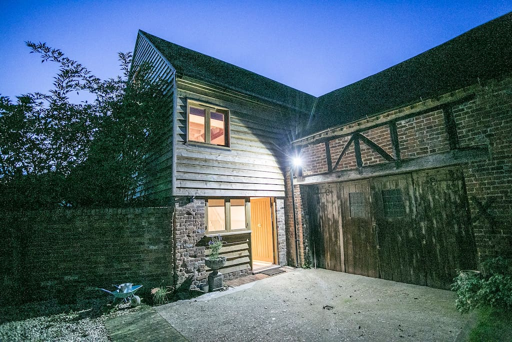 Entrance to barn night time