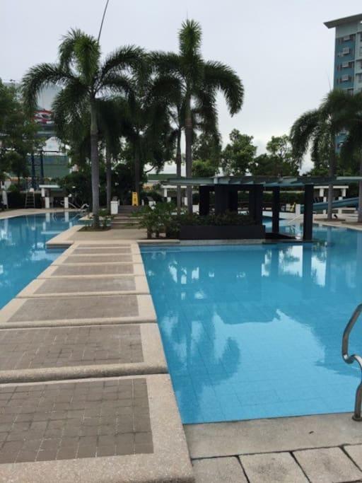 Huge swimming pool with pool bar