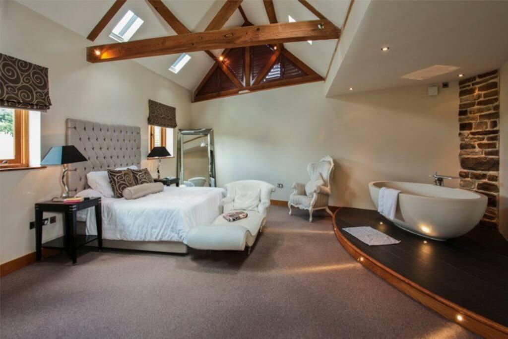 Huge Romantic  master bedroom with Castello Imperia bath.