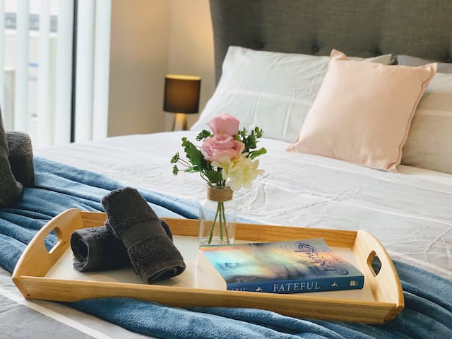 Snuggle up in bed with a book and relax the night away.