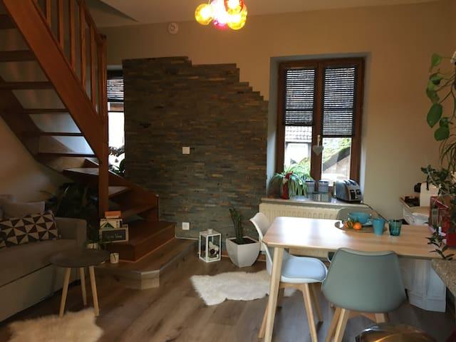 Studio duplex  avec une terrasse pt déjeuner.