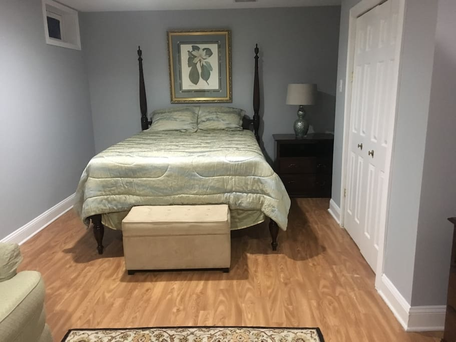 The queen size bed in The Lord Baltimore Room which has a jacuzzi in the private bath, sleeps 2.