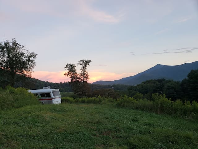 Private campsite with an old bus and epic view