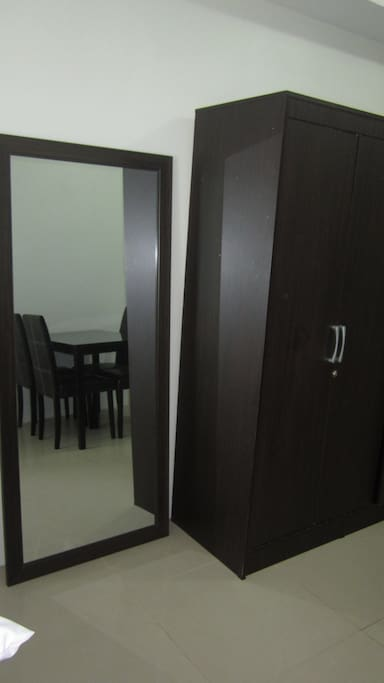 Cabinet with hangers, full length mirror