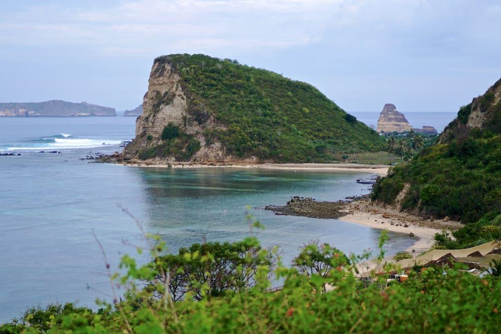 View to Inlight Lombok, Gerupuk Bay, Outside Gerupuk surf spot and Beautiful  cliff.